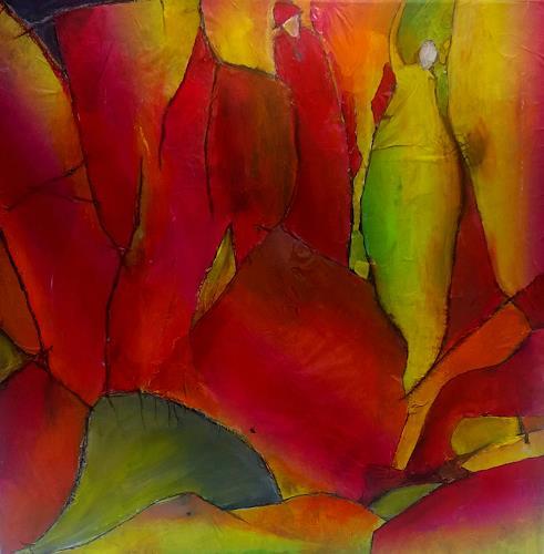 Renate Horn, Im Herbstwald, Landschaft: Herbst, Gefühle: Freude, Gegenwartskunst, Abstrakter Expressionismus