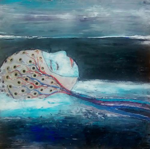 Renate Horn, Eingetaucht, III, Landschaft: See/Meer, Skurril, Gegenwartskunst, Expressionismus