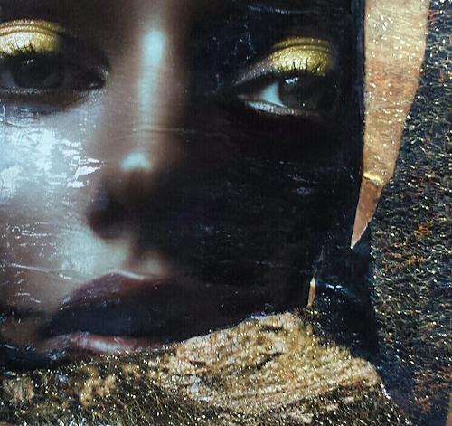 Renate Horn, Golden, Menschen: Frau, Dekoratives, Gegenwartskunst, Expressionismus