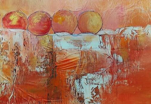 Renate Horn, Aufgereiht, Landschaft: Berge, Fantasie, Gegenwartskunst, Expressionismus