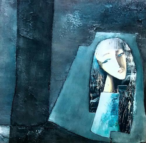 Renate Horn, Versunken, Menschen: Frau, Abstraktes, Gegenwartskunst, Abstrakter Expressionismus