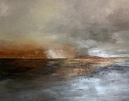 Renate Horn, Abendstimmung, Landschaft: See/Meer, Diverse Gefühle, Abstrakte Kunst, Expressionismus
