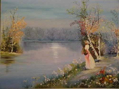 Ursi, Spaziergang am See, Landschaft: See/Meer, Gegenwartskunst, Expressionismus