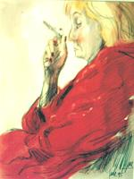 R. Dr. med. Jesse, Meine Ex - missmutig, mit Zigarette, in rotem Morgenmantel