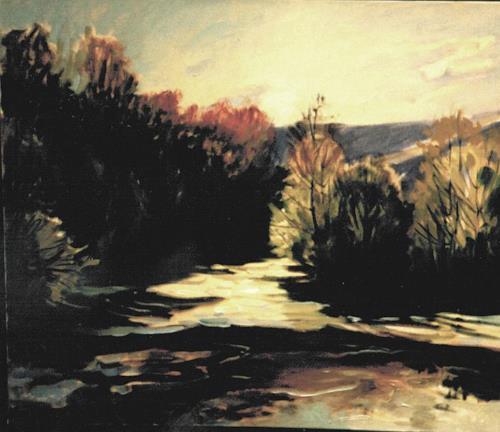 Reiner Dr. med. Jesse, Staustufe an der Saale - Gegenlicht, Landschaft: Ebene, Impressionismus, Abstrakter Expressionismus