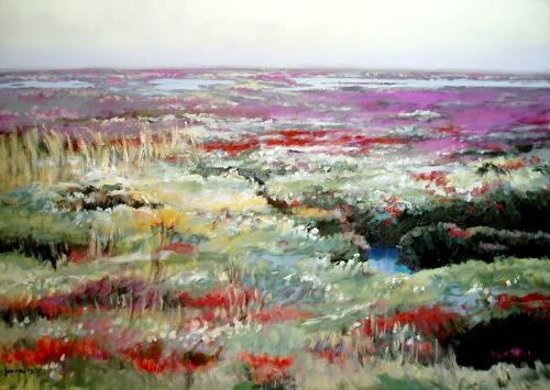 Reiner Dr. med. Jesse, Amrum-Salzwiese in sommerlicher Farbenpracht auf der Odde, Landschaft: See/Meer, Impressionismus, Expressionismus
