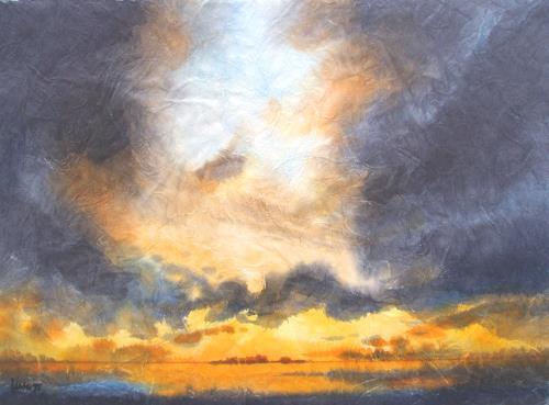 Reiner Dr. med. Jesse, Abendliches Sturmgewölk über dem Watt vor Hooge, Landschaft: See/Meer, Impressionismus