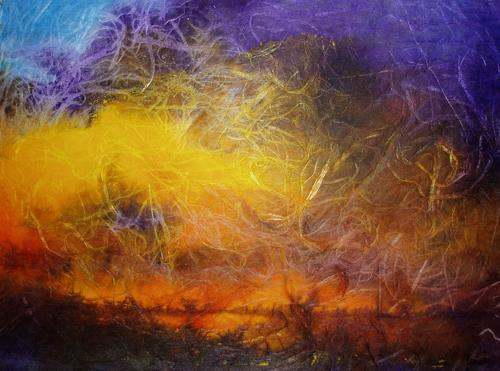 Reiner Dr. med. Jesse, Sonnenuntergang in der Marsch bei Klanxbüll, Landschaft: See/Meer, Impressionismus, Expressionismus