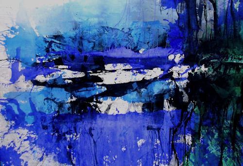 Reiner Dr. med. Jesse, Winter by the riverside, Abstraktes, Informel, Expressionismus