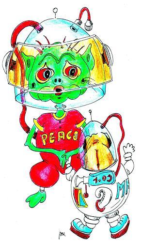 Reiner Dr. med. Jesse, Der Mops Puggy Pug trifft ein grünes Marsmännchen, Weltraum, Realismus