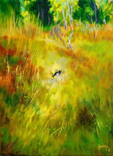 Reiner Dr. med. Jesse, Das Kätzchen, Landschaft: Sommer, Impressionismus