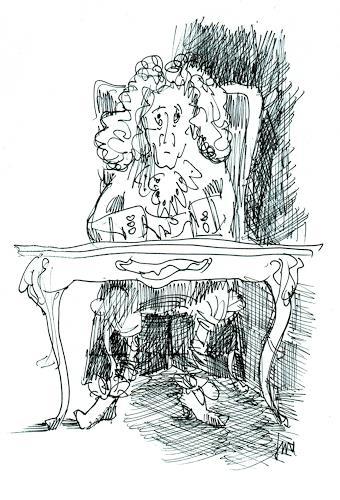 Reiner Dr. med. Jesse, Voltaire hinter seinem Schreibtisch à la Louis Seize, Skurril, Moderne