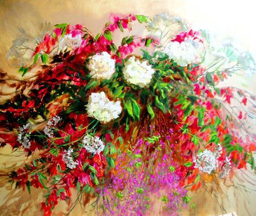 Reiner Dr. med. Jesse, Sommerstraus - Weigelien und Pfingstrosen, Pflanzen: Blumen, Impressionismus, Expressionismus