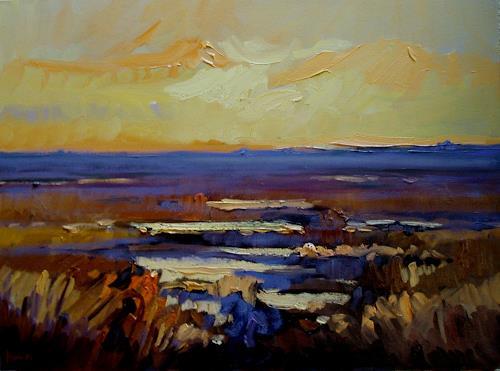 Reiner Dr. med. Jesse, Abend im Watt vor Langness, Landschaft: See/Meer, Impressionismus, Expressionismus
