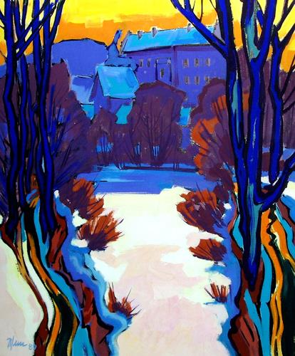 Reiner Dr. med. Jesse, Schloss Aschach-Winterlicht, Landschaft: Winter, Fauvismus