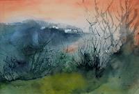Helga-MATISOVITS-Landschaft-Huegel-Romantik-Sonnenuntergang