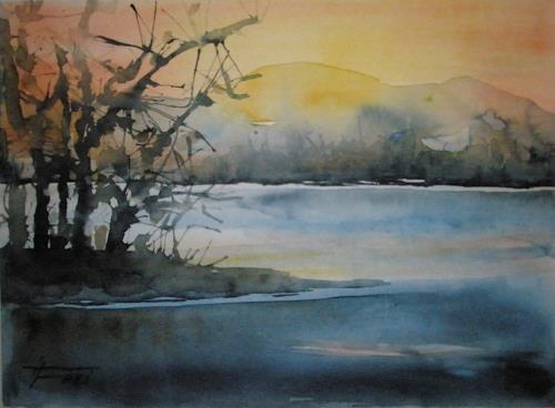 Helga Matisovits, Am See, Landschaft: See/Meer, Landschaft: Herbst