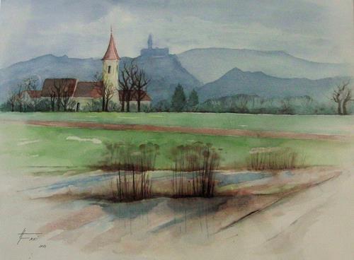 Helga Matisovits, Morgenspaziergang, Landschaft: Winter, Natur