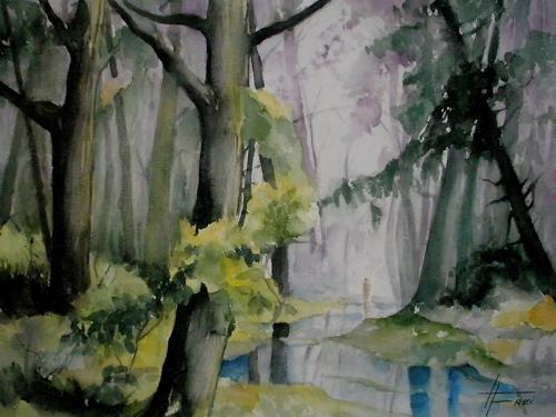 Helga Matisovits, Waldspaziergang, Natur: Wald, Pflanzen: Bäume, Expressionismus