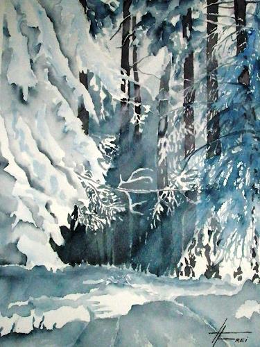 Helga Matisovits, Winterwald, Natur: Wald, Landschaft: Winter, Expressionismus