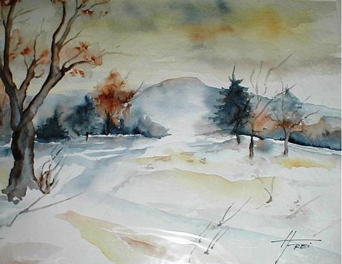 Helga Matisovits, Adventstimmung, Natur, Landschaft: Winter, Expressionismus