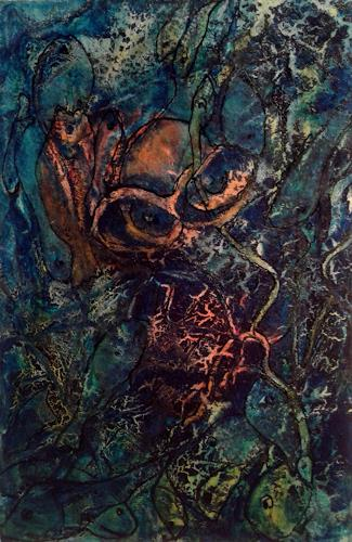 Helga Matisovits, Die Taucherin, Abstraktes, Natur: Wasser