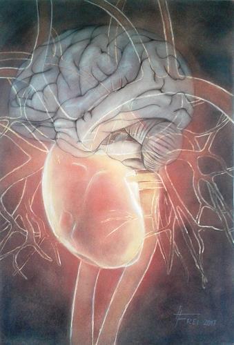 Helga Matisovits, Herz-Hirn, Menschen, Symbol, Realismus, Abstrakter Expressionismus