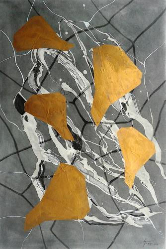 Helga Matisovits, Komposition in Gold, Abstraktes, Bewegung, Abstrakte Kunst