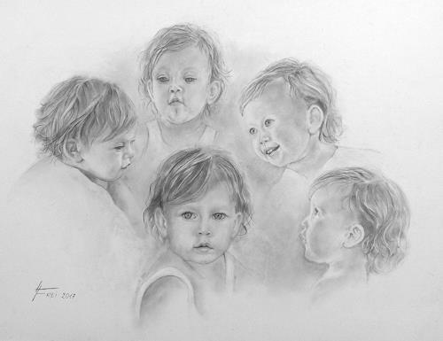 Helga Matisovits, Portraitstudien eines Kleinkindes, Menschen: Kinder, Diverse Gefühle, Fotorealismus