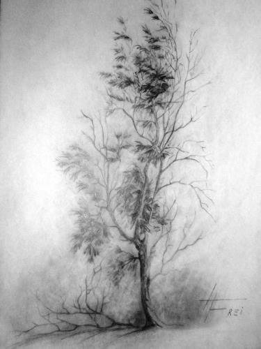 Helga Matisovits, Besinnung, Landschaft: Winter, Pflanzen: Bäume, Realismus, Expressionismus