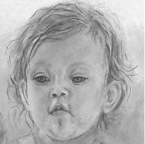 Helga Matisovits, Portraitstudie 2, Menschen: Porträt, Menschen: Kinder, Abstrakte Kunst