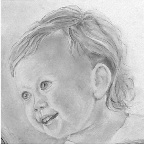 Helga Matisovits, Portraitstudie 3, Menschen: Porträt, Menschen: Kinder, Abstrakte Kunst
