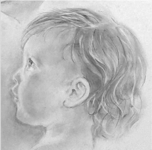 Helga MATISOVITS, Portraitstudie 4, Menschen: Porträt, Menschen: Kinder, Abstrakte Kunst