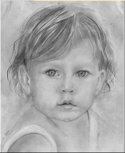 Helga Matisovits, Portraitstudie 5, Menschen: Porträt, Menschen: Kinder, Abstrakte Kunst