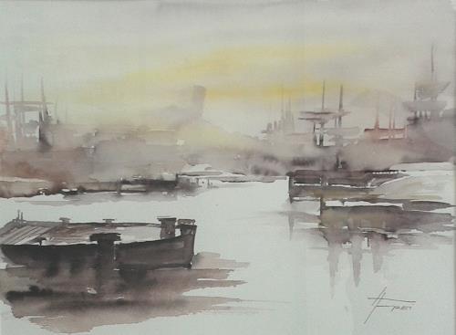 Helga Matisovits, Hafenstimmung II, Landschaft, Natur: Wasser, Abstrakte Kunst