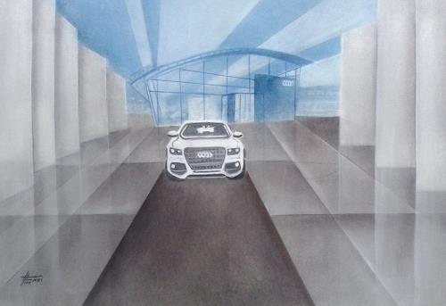 Helga Matisovits, Fahrt in die Zukunft, Verkehr: Auto, Diverse Bauten, Abstrakte Kunst