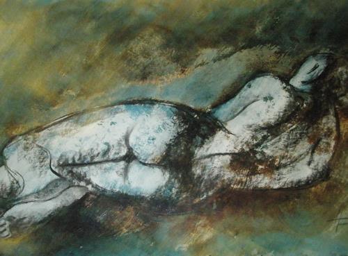 Helga Matisovits, Akt liegend, Akt/Erotik: Akt Frau, Menschen: Frau, Abstrakte Kunst