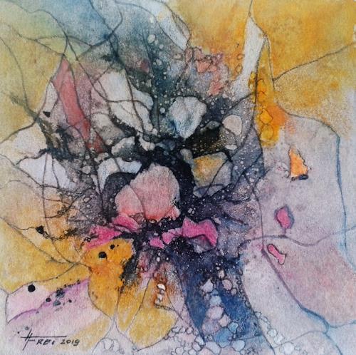 Helga Matisovits, Im Zentrum I, Abstraktes, Fantasie, Abstrakte Kunst, Expressionismus