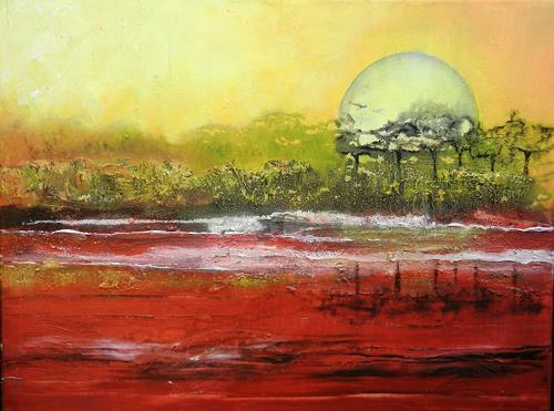 Antoinette Luechinger, Sunset II, Landschaft: See/Meer, Natur: Erde, expressiver Realismus, Expressionismus