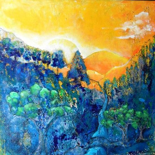 Antoinette Luechinger, Morgendämmerung, Landschaft: Berge