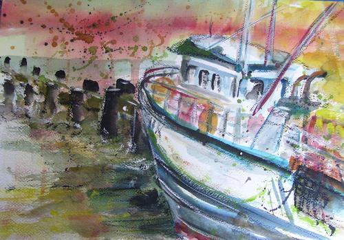 Sabine Brandenburg, Fischerboot Sassnitz Rügen, Landschaft: See/Meer, Verkehr: Schiff, Expressionismus