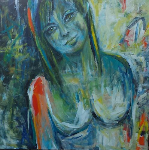 Sabine Brandenburg, orange, Akt/Erotik: Akt Frau, Menschen: Frau, Gegenwartskunst