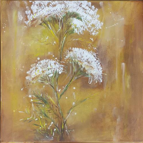 Sabine Brandenburg, Schafgarbe III, Landschaft: Sommer, Pflanzen: Blumen, expressiver Realismus, Expressionismus