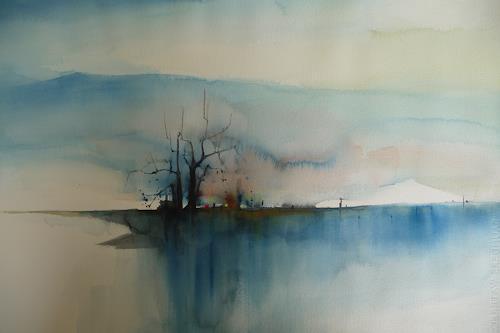 Gottfried Rogner, Wintermorgen, Landschaft: Winter, Expressionismus