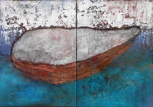 Franziska Schmalzl, Weit hin, Landschaft: See/Meer, Natur: Wasser, Naive Kunst