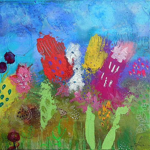 Franziska Schmalzl, Juli, Pflanzen: Blumen, Landschaft: Frühling, Naive Kunst