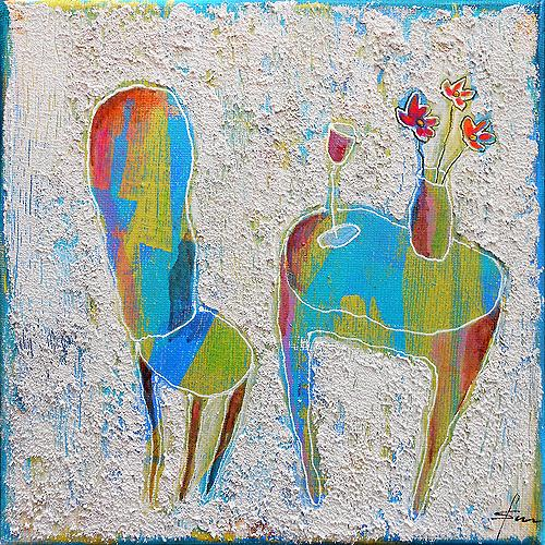 Franziska Schmalzl, Hinsetzen und glücklich sein!, Gefühle: Geborgenheit, Wohnen: Zimmer, Naive Kunst, Abstrakter Expressionismus