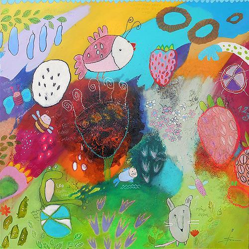 Franziska Schmalzl, Superkeksi wundervoll, Pflanzen: Blumen, Tiere: Luft, Naive Kunst