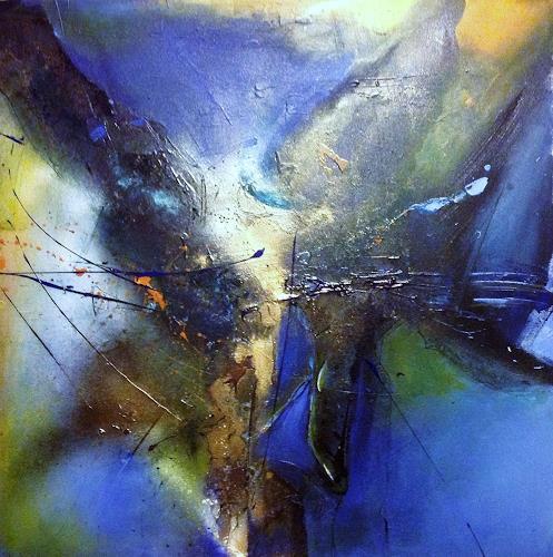 Ursi Goetz, Blaue Herausforderung, Abstraktes, Abstrakter Expressionismus