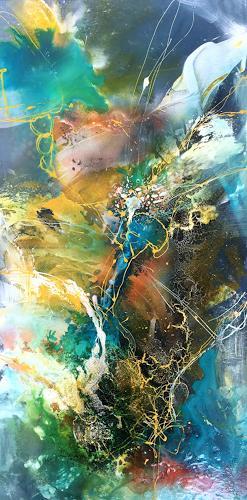 Ursi Goetz, Im Fluss, Abstraktes, Mythologie, Abstrakte Kunst, Abstrakter Expressionismus